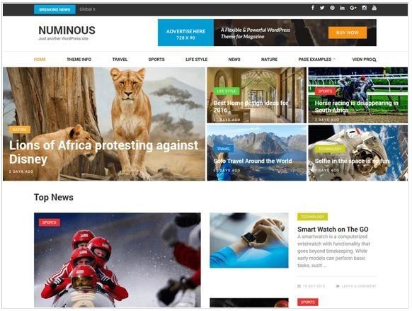 無料テーマの「Numinous」の紹介